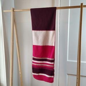 Striped Fleece Scarf Knit Fuscia Purple Soft Long